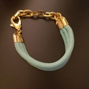 Teal bracelet with gold chain